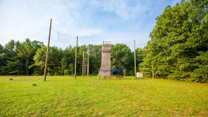 Ropes course and climbing tower